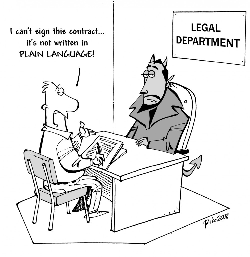 Man sitting at desk with the devil saying, I can't sign this contract - it's not in plain language. Sign about the devil's head reads 'Legal department'.